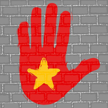 Hand painted with the flag of China over a grunge brick wall - Vector Foto de archivo - 130725188