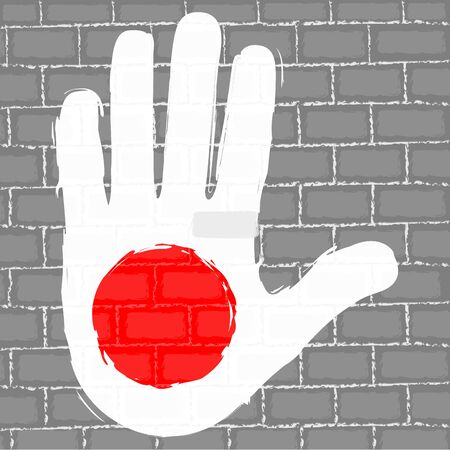 Hand painted with the flag of Japan over a grunge brick wall - Vector Foto de archivo - 130725189