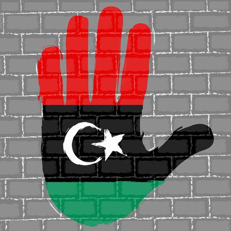 Hand painted with the flag of Libya over a grunge brick wall - Vector Foto de archivo - 130725191