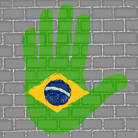 Hand painted with the flag of Brazil over a grunge brick wall - Vector Foto de archivo - 130725193