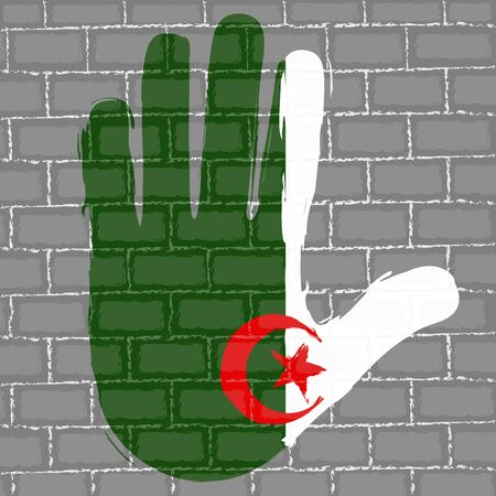 Hand painted with the flag of Algeria over a grunge brick wall - Vector Foto de archivo - 130725197