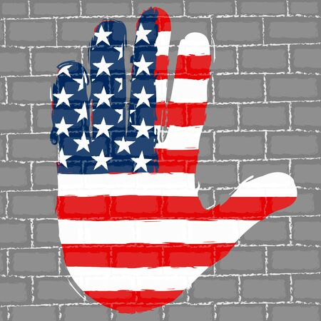 Hand painted with the flag of United States over a grunge brick wall - Vector Foto de archivo - 130725538