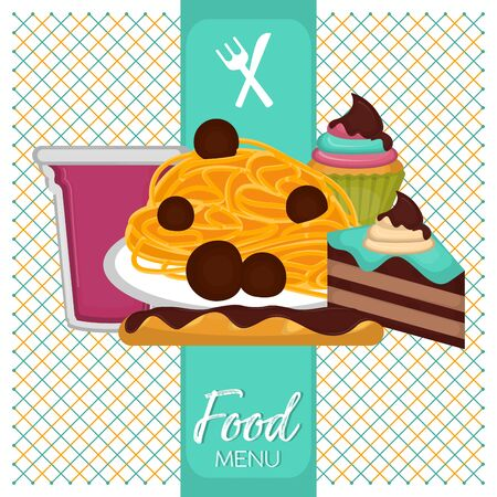 Food menu with a spaghetti, cupcake, chocolate bread, piece of cake and fruits cocktail - Vector