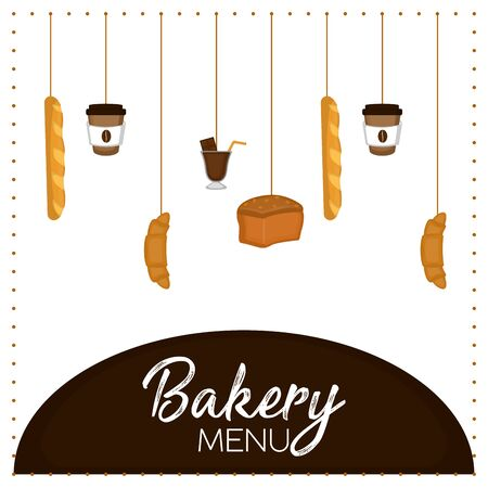 Bakery menu with a breads, coffe cups and chocolate glass - Vector illustration