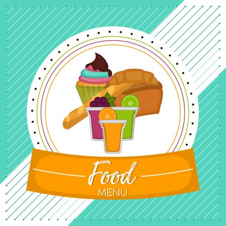 Food menu with a fruits cocktail glasses, breads and cupcake - Vector Stock Illustratie