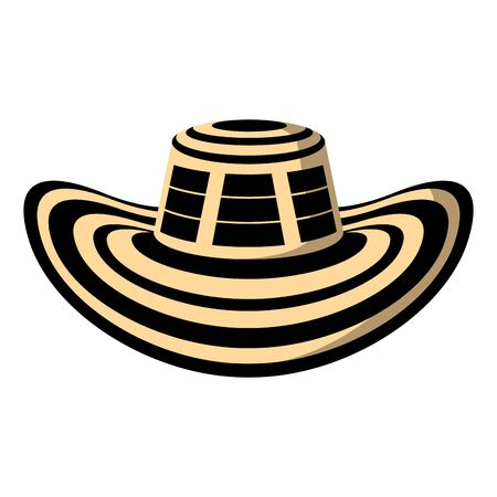 Traditional colombian hat. Sombreo vueltiao - Vector illustration Иллюстрация
