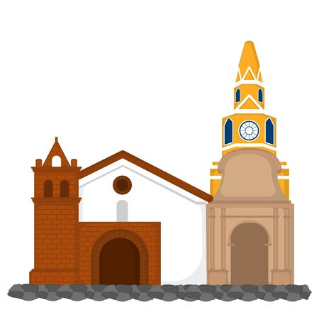 Clock tower with church image - Vector illustration Иллюстрация