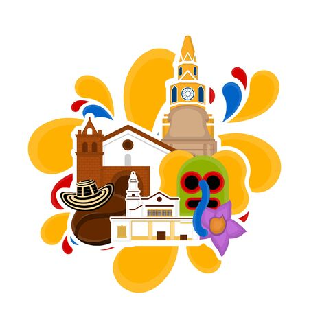 Church building with a hat and marimonda mask. Representative image of colombia - Vector