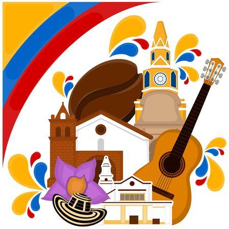 Kirchengebäude mit Flagge, Hut, Kaffeebohne und Gitarre. Repräsentatives Bild von Kolumbien - Vector