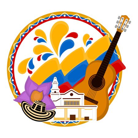 Church building with a flag, flower and guitar. Representative image of colombia - Vector