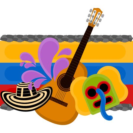 Sombreo vueltiao, marimaonda mask and guitar over a flag of Colombia. Representative image of colombia - Vector