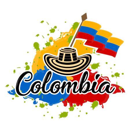 Flagge von Kolumbien und Sombrero vueltiao. Repräsentatives Bild von Kolumbien - Vector