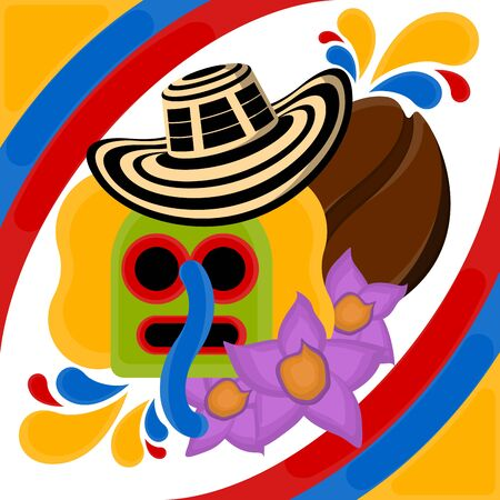 Marimonda mask with a sombreo vueltiao, coffee bean and flowes. Representative image of colombia - Vector
