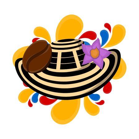Sombrero vueltiao mit Kaffeebena und Blume. Repräsentatives Bild von Kolumbien - Vector