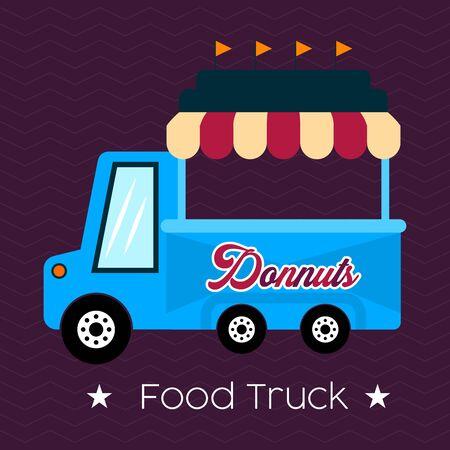 Donut food truck. Street food - Vector illustration Illustration