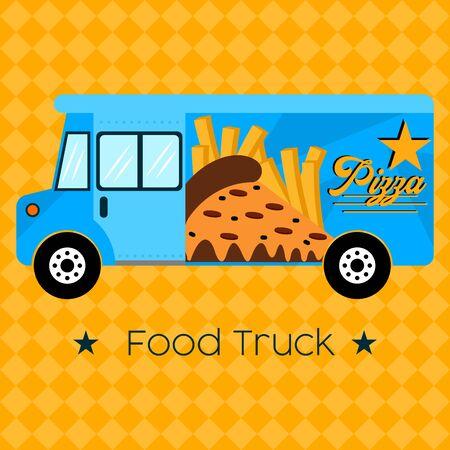Pizza food truck. Street food - Vector illustration Stock Illustratie