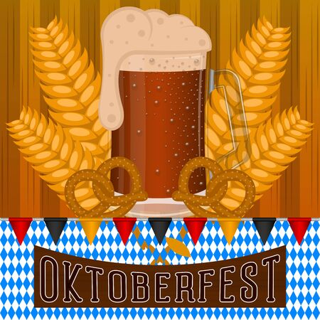 Oktoberfest poster with wheats, pretzels and beer mug - Vector illustration