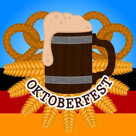 Oktoberfest poster with a beer wooden mug, pretzels and wheats - Vector illustration