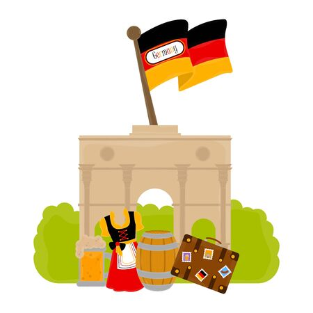 View of traditional german objects with famous buildings. Travel to Germany - Vector