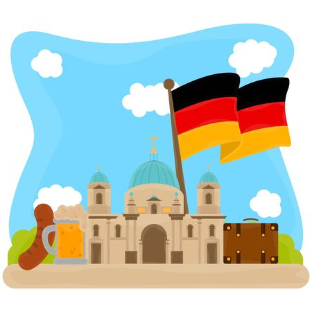 Reichstag with traditional objects from Germany - Vector