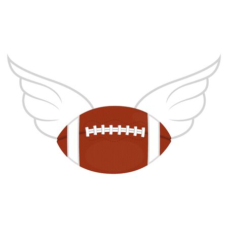 Isolated rugby ball with a wings - Vector