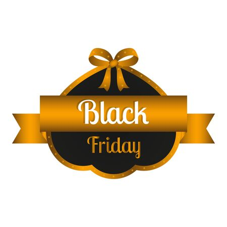 Elegant black friday label with text - Vector illustration