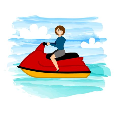 Woman riding a jet ski on a tropical beach - Vector