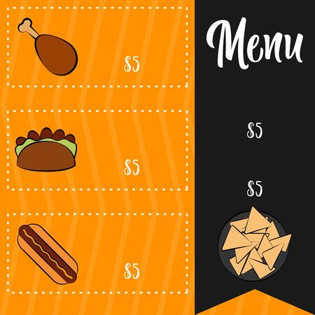 Food menu. Restaurant menu design - Vector illustration Çizim