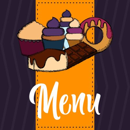 Desserts menu. Restaurant menu design - Vector illustration