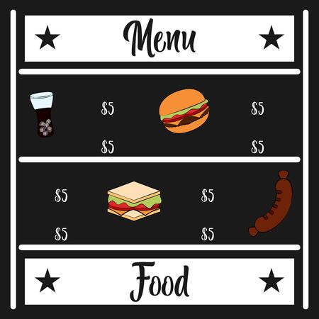 Food and drinks menu. Restaurant menu design - Vector illustration
