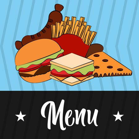 Fast food menu. Restaurant menu design - Vector illustration