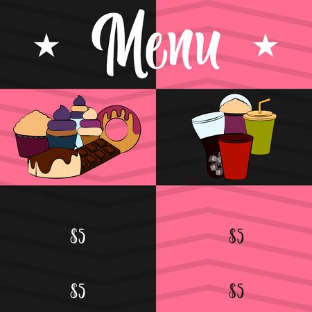Drinks and desserts menu. Restaurant menu design - Vector illustration Çizim
