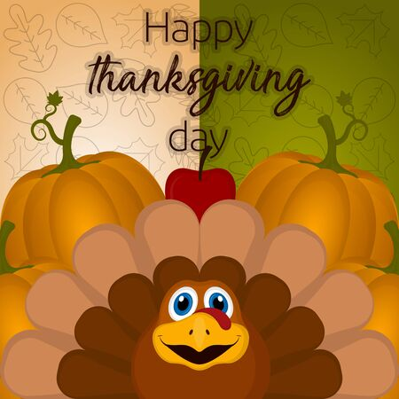 Happy thanksgiving day card with a turkey, pumpkins and apple - Vector Illustration
