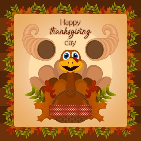 Happy thanksgiving day card with a turkey and cornucopia - Vector