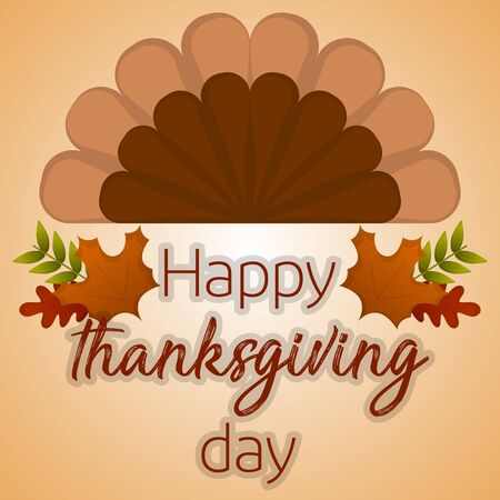 Happy thanksgiving day card with a turkey feathers and leaves - Vector
