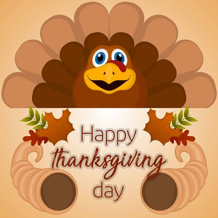 Happy thanksgiving day card with a turkey, cornucopia and leaves - Vector Illustration