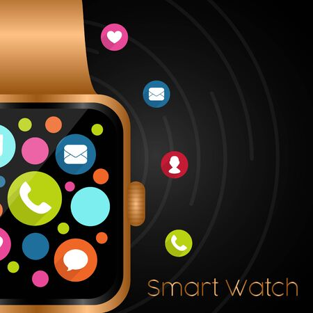 Smartwatch in a poster. Digital clock - Vector illustration Çizim