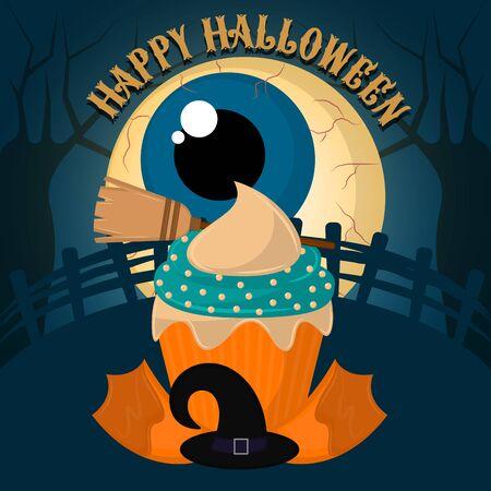 Vintage halloween spooky cupcake. Halloween poster - Vector Archivio Fotografico - 131952290