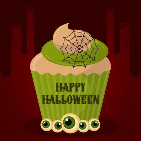 Vintage halloween spooky cupcake. Halloween poster - Vector Archivio Fotografico - 131951069