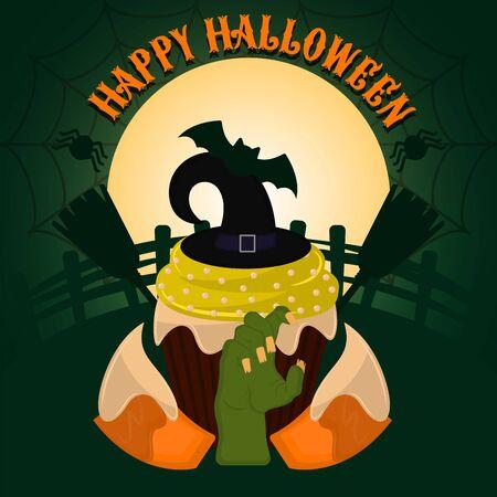 Vintage halloween spooky cupcake. Halloween poster - Vector