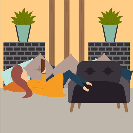 Traditional hygge scenario. Relaxing time for people - Vector Stock Illustratie