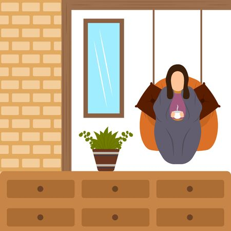 Traditional hygge scenario. Relaxing time for people - Vector Illusztráció