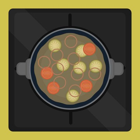 Soup in a pot. Food preparation - Vector illustration