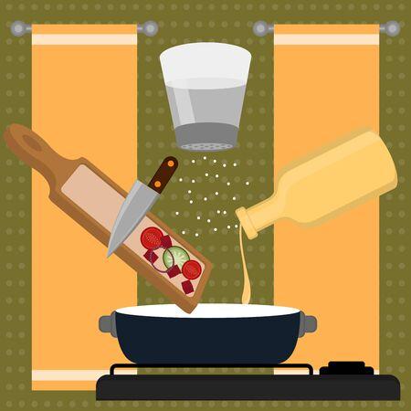 Vegetables soup preparation. Food preparation - Vector illustration