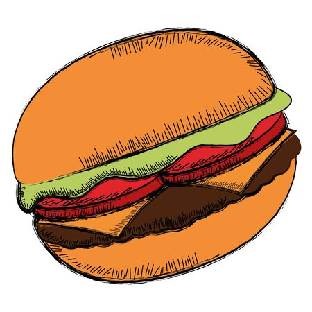 Isolated sketch of a burger - Vector illustration Banque d'images - 132097643