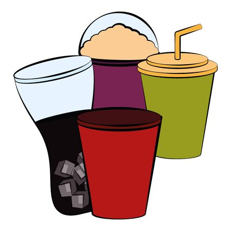 Sodas and frappe. Drinks image - Vector illustration Zdjęcie Seryjne - 132097659
