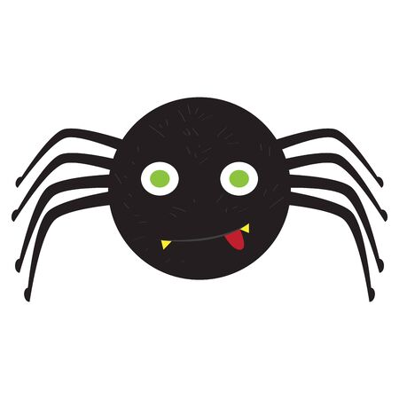 Isolated spooky spider. Halloween concept - Vector illustration