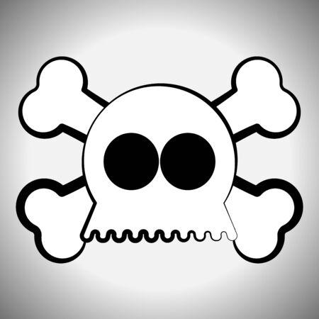 Skull and bones. Spooky halloween - Vector illustration Иллюстрация