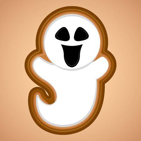 Happy spooky ghost. Halloween season - Vector illustration Иллюстрация