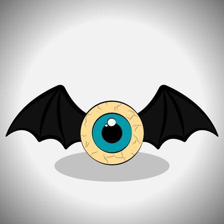 Dead eye with bat wings. Spooky halloween - Vector illustration Фото со стока - 133006033
